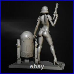 1/6 300mm Resin Figure Model Kit Star Wars Girl Stormtrooper R2-D2 Unpainted