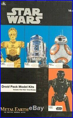 Disney Parks Star Wars Metal Earth 3d Model Kit C-3po/r2-d2/bb-8/k-2so New