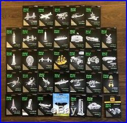 Metal Earth 3D Model Kits Lot Of 33 No Duplicates Brand New