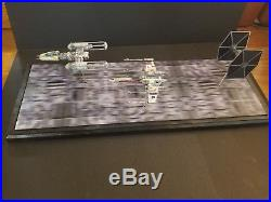 Pro built 1/144 X-wing, Y-wing and Tie fighter with custom base Death Star
