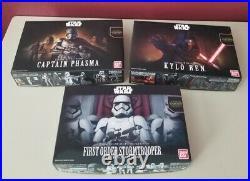 Star Wars Bandai Model Kits (3) Kylo Ren, 1st Order Stormtrooper, Captain Phasma